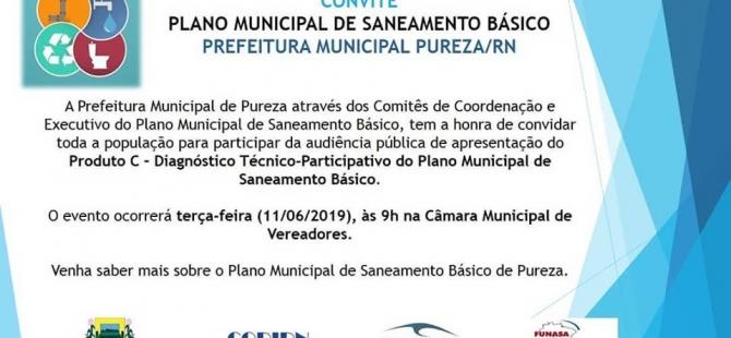 Prefeitura de Pureza CONVIDA a população para audiência pública com o tema: Plano Municipal de Saneamento Básico.
